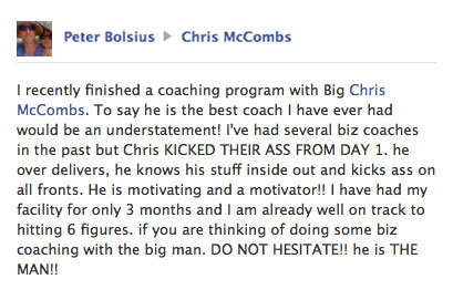 Peter Bolsius testimonial on Facebook